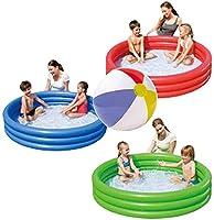 インフレータブルパドリングプールとビーチボール-キッズプール-幼児用プール(1.22m X 25cm-青)。 (Blue)