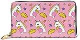 Monedero de cuero para mujer, diseño de unicornios y tacos, con bloqueo RFID, cierre de cremallera alrededor de la cartera, de cuero genuino para tarjetas, bolso de viaje