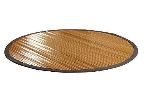 Nachhaltiger Bambusteppich mit Bordüre breit, rund 120 cm I Naturfaser Teppich Vorleger Küchenteppich Wohnzimmerteppich I Hochwertiger Bambusteppich Natural von DE-Commerce