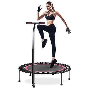 HOMEOW 100cm Trampolín Cama Elástica Fitness con Pasamanos Ajustable de 3 Niveles Rosa Peso Máximo 200kg para Adultos Gimnacio Hogar Jardín