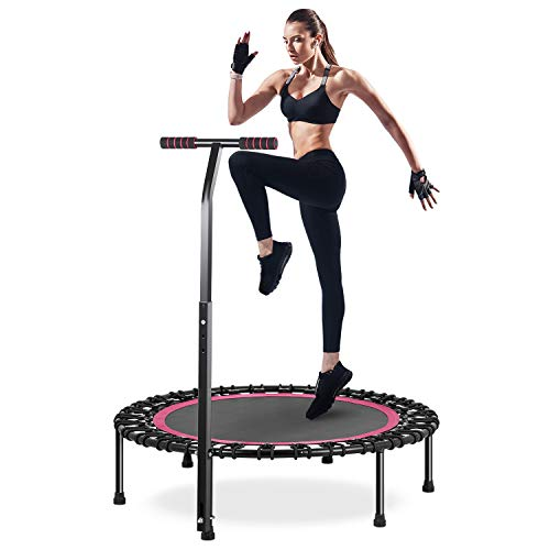 "HOMEOW 40"" Silent Mini Trampoline with Adjustable Handle 440lbs, Fitness Rebounder for Adults Kids Indoor/Garden Workout Max Load 440lbs"