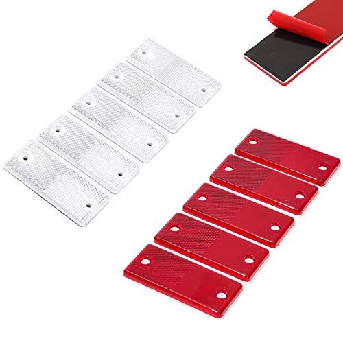 Boyigog 10 Pcs Reflectores Camiones, Rectangular Reflectante, Pegatinas Reflectores Seguridad para Caravanas de Remolque Adecuados para Vehículos Postes para Puertas de Vallas(5 Rojo + 5 Blanco)