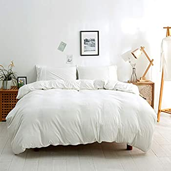 BESTOUCH Jersey Knit Duvet Cover Set King T-Shirt Cotton Super Soft Comfortable 3 Pieces Home Bedding Set 1 Duvet Cover and 2 Pillowcases Solid Off White King