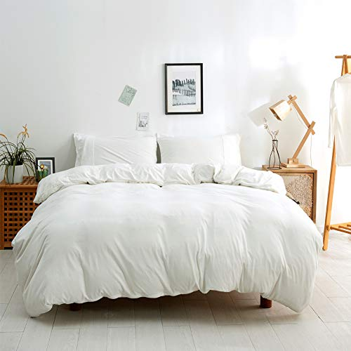 BESTOUCH Jersey Knit Duvet Cover Set Queen T-Shirt Cotton Super Soft Comfortable 3 Pieces Home Bedding Set 1 Duvet Cover and 2 Pillowcases Solid Off White Queen