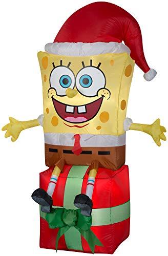 Gemmy Spongebob Squarepants on Present Christmas Inflatable 5ft