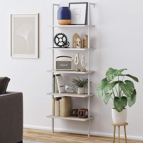 Nathan James Theo 5-Shelf Wood Modern Bookcase, Open Wall Mount Ladder Bookshelf with Industrial Metal Frame, Gray Oak/White