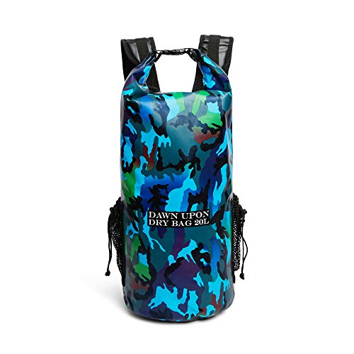 Waterproof Sack Dry Bag 20L Dry Sack Waterproof Backpack Extreme Outdoor Sport Backpack Dry Bag Worthy for Adventure Seekers Protect Your Gear While Hiking Camping Fishing Kayaking Camo Blue