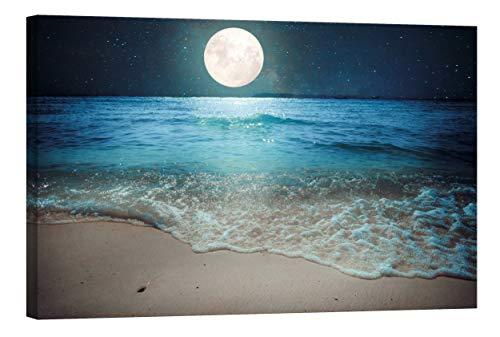 Startoshop Wallart Deko-Bild nachleuchtend Leinwandbild Mondaufgang am Meer Wanddeko Wandbild fluoreszierend (mit Leuchteffekt 60 x 90 cm)