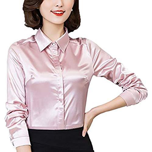 YOUMU Damen Satin Seide Langarm Button-down Hemd Formelle Arbeit Seidige Bluse Top (Hell-Pink, EU M(Etikett XL)/ Büste: 38,6