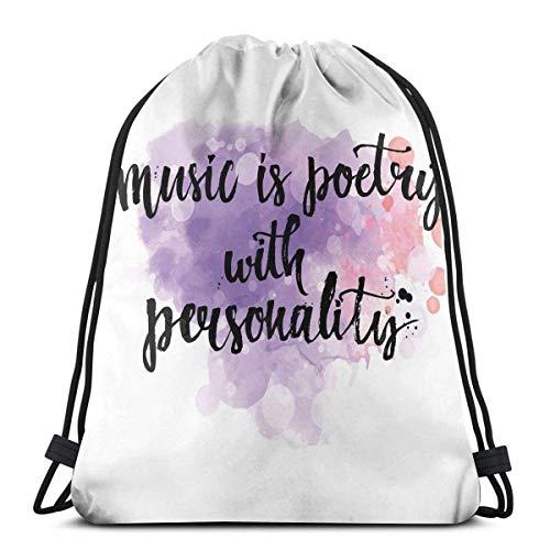 Lfff Rucksäcke Taschen, inspirierendes Zitat über Musik Handgeschriebene Kalligraphie Farbspritzer Kunst, Verstellbarer Stringverschluss