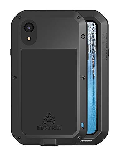 FONREST iPhone XS MAX Funda de Cuerpo Completo, 6,5-Pulgada Love Mei Antichoque Al Aire Libre Tarea Pesada Híbrido Aluminio Metal Armadura Antipolvo Carcasas con Vidrio Templado (Negro)