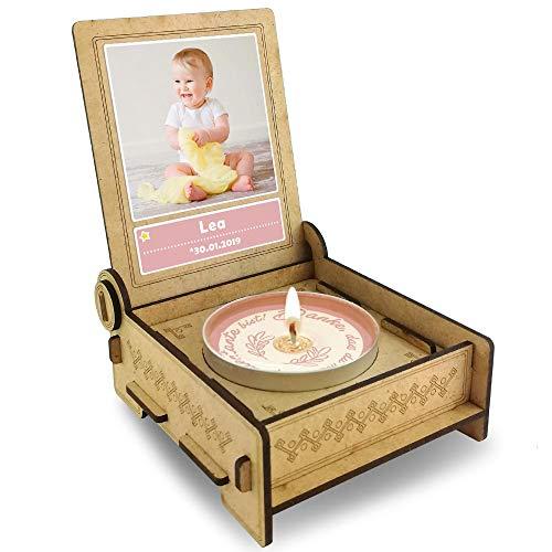 Candle IN THE BOX geschenkdoos voor patentant met boodschap & kaars | Gepersonaliseerd met foto en naam | Dank je dat je mijn patentant bent