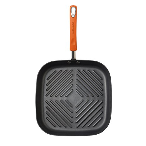 Rachael Ray Brights Hard Anodized Nonstick Square Griddle Pan/Grill, 11 Inch, Gray with Orange Handles
