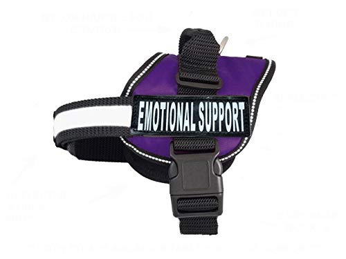 "Doggie Stylz Emotional Support Dog Vest with 2 Free Hook and Loop Removable Emotional Support Animal Patches, Reflective Lightweight Cool Soft Adjustable K9 Harness (Girth 24""- 31' Purple)"