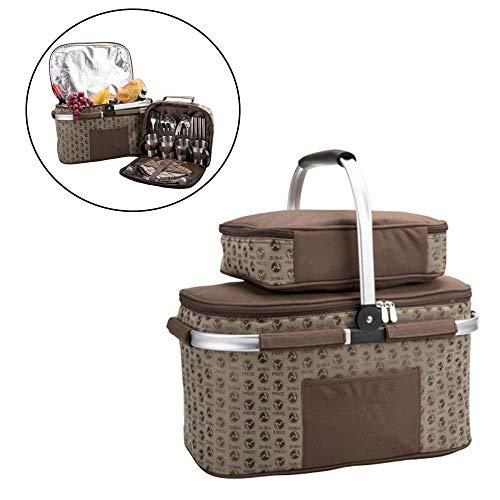 Gycdwjh Doppelschicht Wasserdicht Picknickrucksack, Picknickset für 4 Personen Isolierung und Kühlung 2 in 1 Picknicktasche mit Besteck für Outdoor Picknick