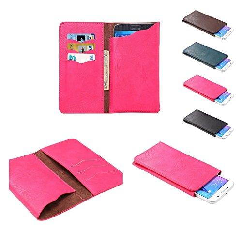 DFVmobile - Etui Vertikaltasche Tasche Schutzhülle aus Kunstleder mit Kartenfächer für ALLVIEW P8 Energy PRO - Rosa