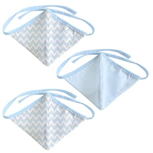 Máscara Artesanal Formato Curvo Tecido Tricoline Duas Camadas 03 Unidades, Papi Textil, Azul, Único
