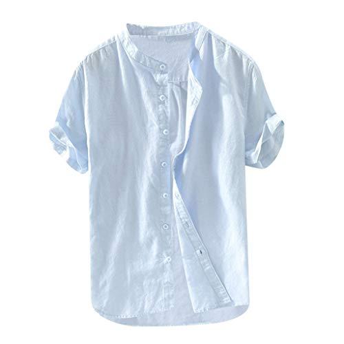 Andouy Herren Shirt Freizeit Kurzarm Hemd Leinen Baumwolle Button Down Shirts Einfarbig Henley T-Shirt Tops(2XL.Hellblau-1)