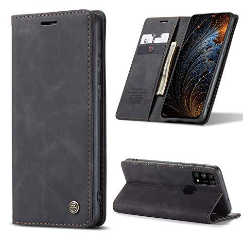 yanzi Hülle Samsung Galaxy M31 Handyhülle Flip Hülle Schutzhülle Samsung Galaxy M31 Premium Leder Tasche Schwarz Wallet Lederhülle Bumper Silikon Samsung M31 Hülle