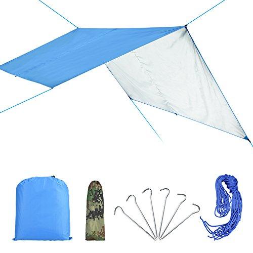 VGEBY Wasserdicht Zeltplane mit Öse für Camping und Outdoor mit Tragetasche (Farbe : Blau)