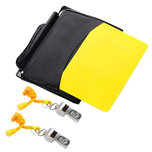 VORCOOL Sportkarte Schiedsrichterkarte Rot Karte, Gelb und Zwei Schiedsrichterpfeifen aus Metall Signalpfeife für Fußball