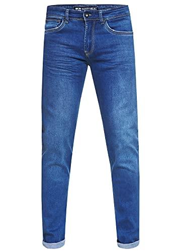 Rusty Neal Herren Jeans Hose Regular Fit Blue Used Blau Stretch Dicke Naht Freizeit J100, Hosengröße:31/34