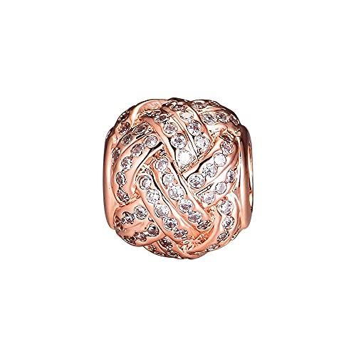 Pandora 925 colgante de plata esterlina Diy CKK Beads Rose Gold Love Knot Charms Original se adapta a la pulsera de fabricación de joyas Charm Bead