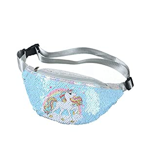 KENANLAN Bolso de Cintura de Lentejuelas de Unicornio Riñonera Bolso de Pecho de Dibujos Animados con Brillo para niños…