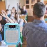 FOLOSAFENAR Haut-Parleur MP3 Haut-Parleur Radio FM Mémoire de Point de Rupture de Batterie de Grande capacité, pour l'enseignement, pour Guide Touristique,(Blue (Including Belt))