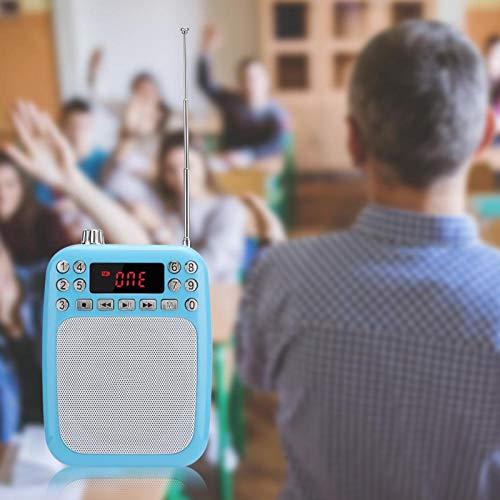 DAUERHAFT Altavoz Radio FM Altavoz MP3, para la enseñanza, para PC, Teléfono móvil(Blue (Including Belt))