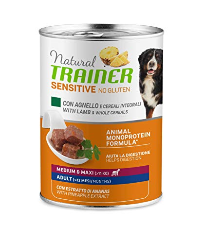 Trainer Natural Sensitive No Glutine - Cibo Umido per Cani Medium-Maxi Adulti con Agnello e Cereali Integrali Pack 12 x 400gr - 3,6kg