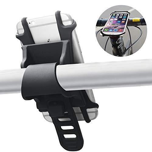 AFUNTA Soporte de teléfono para bicicleta, de silicona, universal, para manillar de motocicleta, para Smartphone de 4' a 6.5' compatible con iPhone , compatible con Samsung Galaxy - negro
