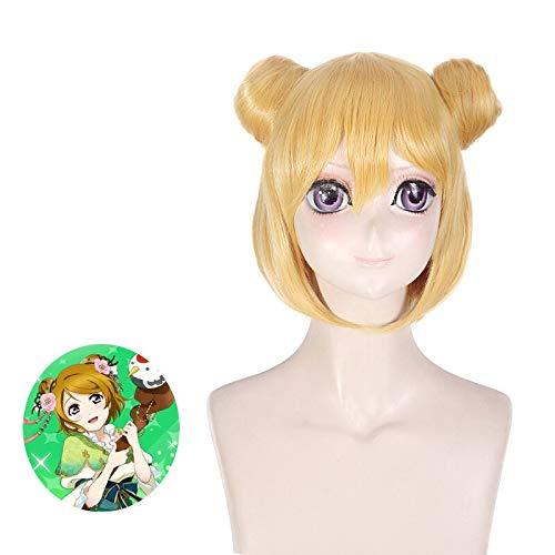 ¡Ama vive!Peluca de Cosplay Hanayo Koizumi, pelo sintético amarillo resistente al calor con moños, accesorios para fiestas de Halloween, pelucas Pl-421