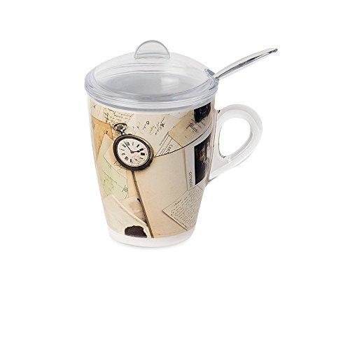 Omada Design tisaniera o taza con filtro, tapa y cuchara incluidas, 30 cl, irrompible y apta para lavavajillas, decoración indeleble, línea Plexart