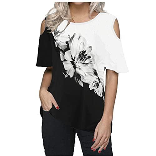 N\P Camiseta de verano de las mujeres sin tirantes impresos Tops ocasionales sueltos de las señoras Tops