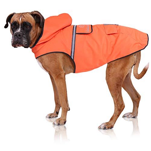 Bella & Balu Impermeabile Cane - Cappotto impermeabile per cani con cappuccio e catarifrangenti per protezione dal freddo, pioggia e neve in inverno e in vacanza. (L| Arancione)