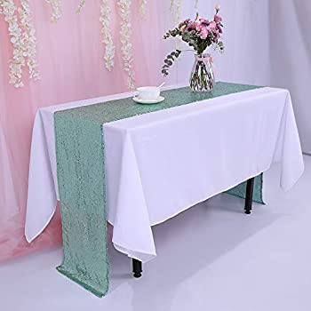 TRLYC 12 x 120 Inch Mint Sparkly Sequin Table Runner,Sequin Tablerunner Mint