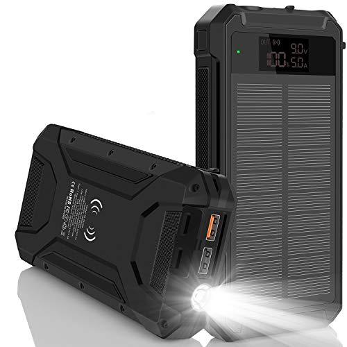 Solar-Ladegerät Power Bank, 30000mh 18W Schnellladung Typ C LED-Anzeige Digitale Externe Akkus mit Qi Wireless Charging QC 3.0 USB-Ausgang SOS-LED-Taschenlampen (Schwarz)