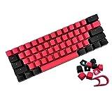 XVX Keycaps 60 Percent, Custom Keycaps Color Double Shot Backlit OEM Profile Keycaps 61/87/104 Keys Set with Key Pulle for DIY Cherry MX RGB Mechanical Keyboard (Red Black Keycaps)