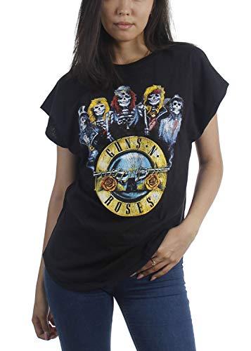 Guns N Roses Band Line-Up T-shirt for Ladies, Large, Black