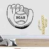 Sticker Mural Baseball Gant Sticker Mural Personnalisé Nom Autocollant Garçon Chambre Décoration Personnalisé Mur Vinyle Decal Art Décor Décor À La Maison 58X61 Cm