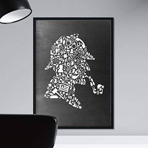 Lámina en blanco y negro Sherlock Holmes en tamaño A3 Poster con fondo negro estilo pizarra.