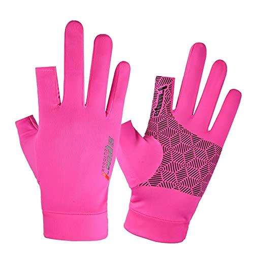 Guantes de remo antideslizantes Gimnasio al aire libre Conducción Ciclismo Medio dedo Guantes para mujeres Hombres Correr Fitness Ejercicio (rosa)