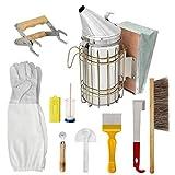 Odoukey Apicultura Fuentes Herramientas Kit de Accesorios Conjunto de la Colmena de Starter Kit Apicultor con la Colmena Fumador 10PCS