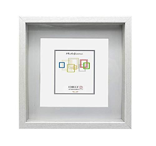 Chely Intermarket | 7B3B | Marcos con Profundidad 20x20cm (Medida Interior de paspartú 15x15cm) (Blanco) MOD-3503 | Marco de Fotos para Decoración de Casa | Fotografías de Boda.(3503-20x20-0,50)