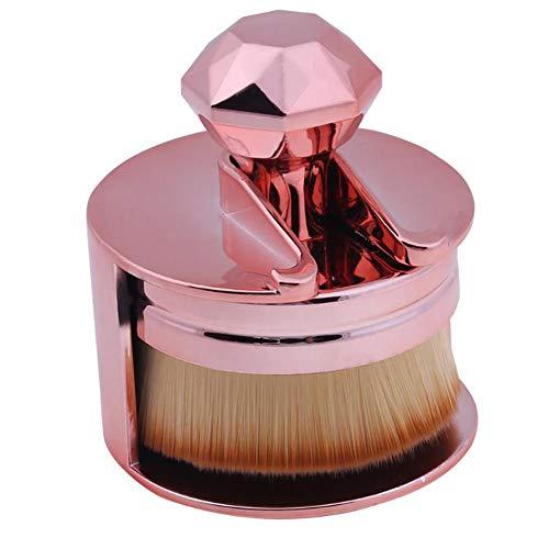 1pc ultra doux Maquillage Pinceau rond Joint plat en forme Pinceau fond de teint brosse cosmétiques avec support parfait pour le mélange liquide, crème ou poudre (Golden Rose)