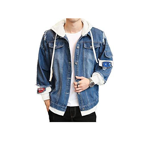 Preisvergleich Produktbild NOBRAND Denim Jacke Herren Frühling New Herren Denim Mantel Mode Oberbekleidung Casual Herren Wear Gr. L,  dunkelblau
