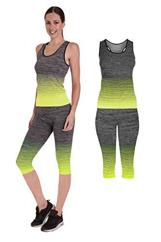 Pierre Calvini Damen Sportswear Set, Weste, Oberteil und Leggings, Stretch-Fit, Gymnastik-Set Gr. One size, gelb