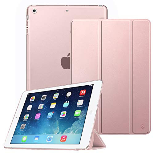 FINTIE SlimShell Case for iPad 9.7 6th / 5th Gen 2018 2017 / iPad Air 2 / iPad Air, Super Thin Lightweight Standing Case with Translucent Frosted Back Cover, Auto Wake/Sleep, Rose Gold