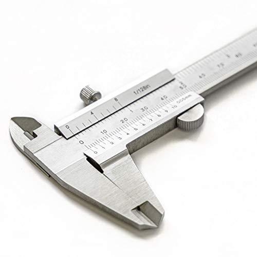 AlphaRox - Messschieber analog, Nonius 150 mm aus rostfreiem Edelstahl mit hoher Messgenauigkeit (DIN862) - 0,05 mm Ablesung mit Tiefenmessung, Innenmessung, Außenmessung